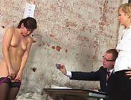 Naked and sucking a dildo at the dirty interview