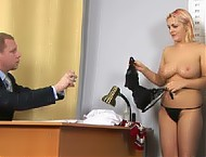 Bombshell undressed for a very perverted interview