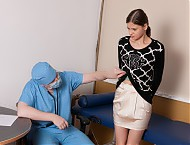 Girl undressed for a humiliating rectal exam