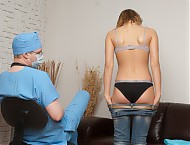 Patient embarrassed with a cheeky breast examinati...