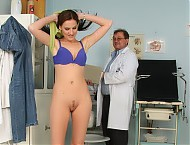 Gyno female doctor examines Tereza with gyno tools
