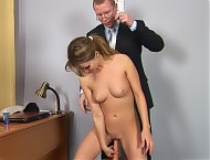 Obedient interviewee enjoys the toy double penetra...