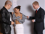 Lusty staff managers strip a girl to the panties