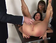Secretary interview with nudity and dildo sex