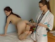 Medical seduction and lesbian exam of a petite bea...