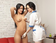 Long-haired cold girl examined by a hot gynecologi...