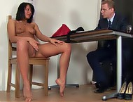 Interview gyno exam and fake cock double BJ