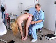 Bea, 22 years girl gyno exam. Inspection with brea...